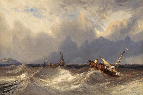 Изабе, Эжен - Рыбацкие лодки перед бурей, 30Х40см.