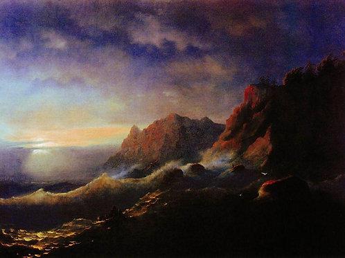 Буря. Закат. 1856, 30х40 см.