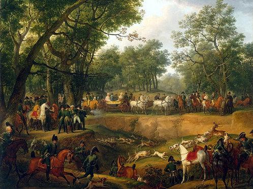 Верне, Наполеон на охоте в Компьенском , 30х40 см.