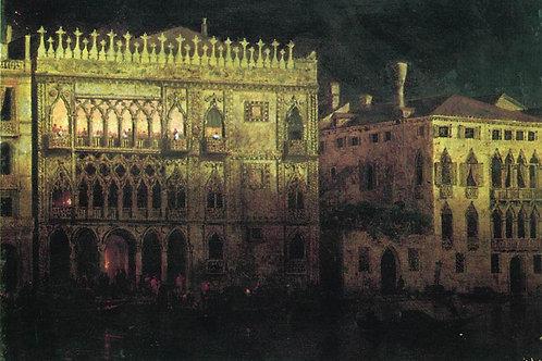 Дворец Ка д'Ордо в Венеции при луне.1878,30х40 см.
