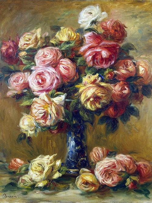 Ренуар, Пьер Огюст - Розы в вазе, 30х40 см.