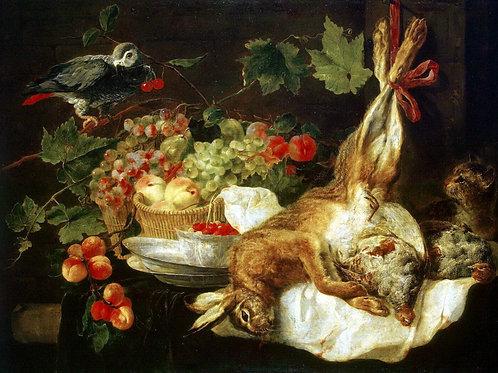 Фейт, Ян - Заяц, фрукты и попугай, 30х40 см.