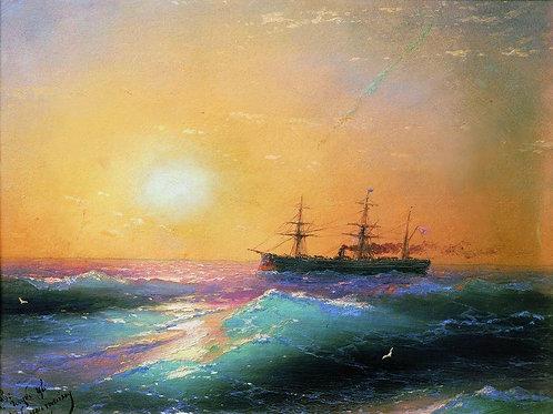 Закат на море. 1886, 30х40 см.