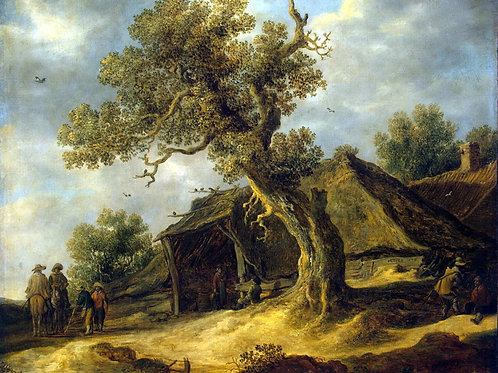 Гойен, Ян ван - Пейзаж с дубом, 30х40 см.