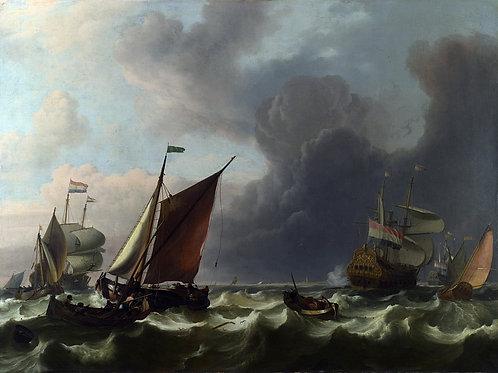 Людольф Бакхейзен - Голландские корабли, 30х40 см.