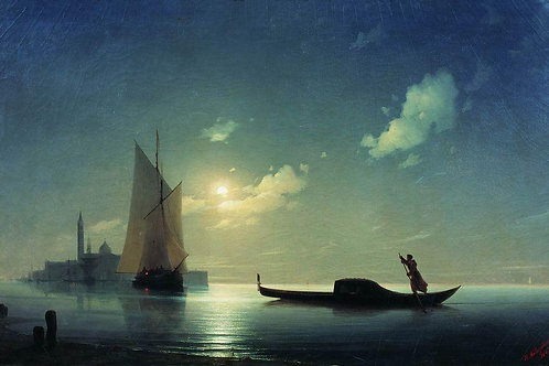 Гондольер на море ночью. 1843, 30х40 см.