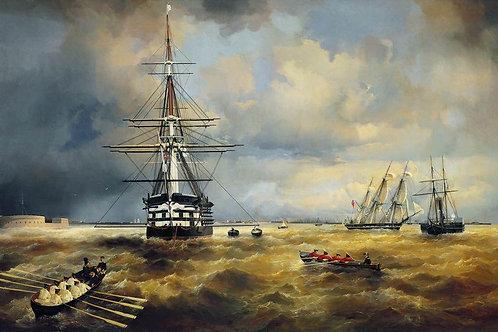 Кронштадтский рейд. 1840, 30х40 см.