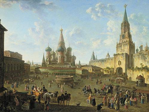 Красная площадь в Москве. 1801,  30х40 см.