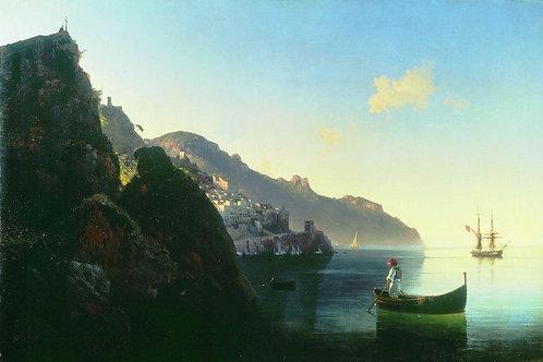 Побережье в Амальфи. 1841, 30х40 см.