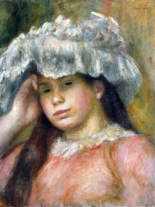 Ренуар, Пьер Огюст - Девушка в шляпе, 30х40 см.