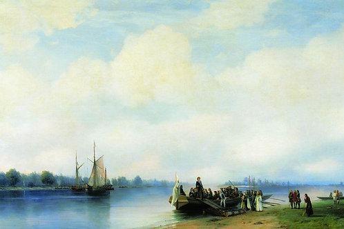 Приезд Петра I на Неву. 1853, 30х40 см.хщкрь