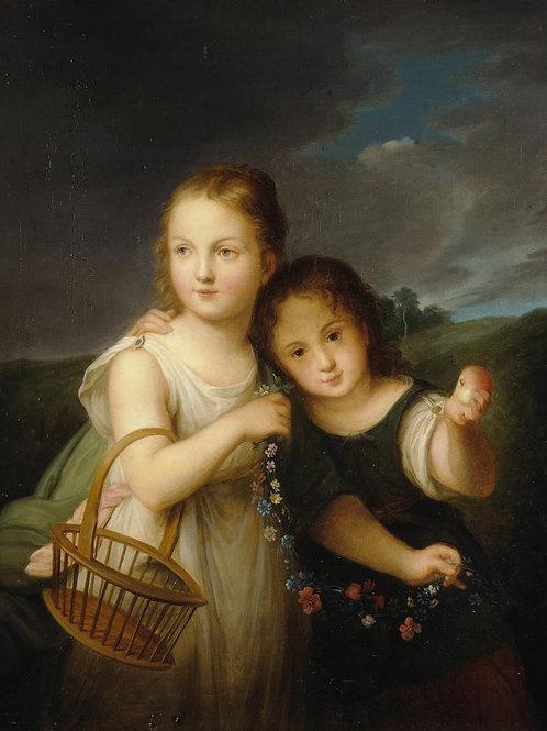 Портрет девочек-княжен В. Н. и А. Н. Ре, 30х40 см.