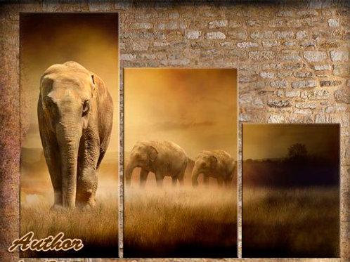 Слоны, 100% натур. холст, подрамник.