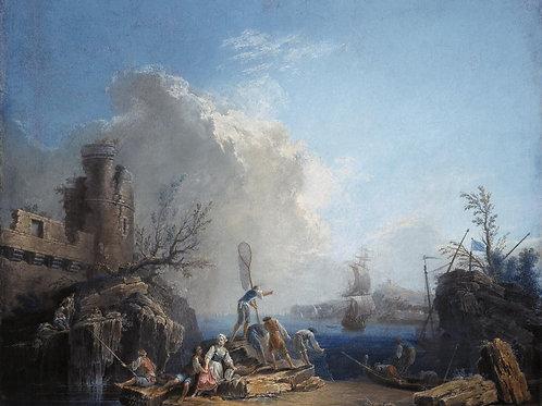 Волер,  Морской пейзаж с рыбаками на ск, 30х40 см.