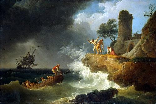 Верне, Буря у скалистого берега, 30х40 см.
