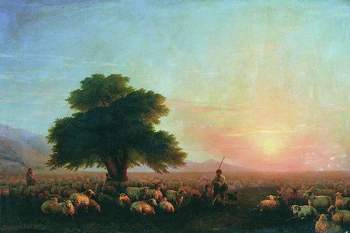 Отара овец (Стадо овец). 1857, 30х40 см.
