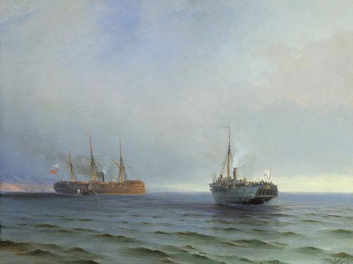 Захват пароходом «Россия» 30х40 см.