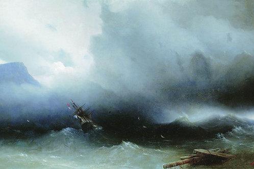 Ураган на море. 1850, 30х40 см.