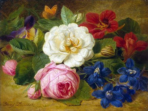 Лаунер, Иозеф - Букет цветов с улиткой, 30х40 см.