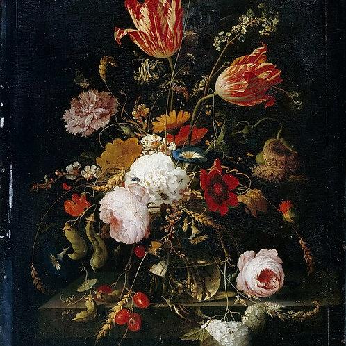 Миньон, Абрахам Цветы в стеклянной вазе 30х40 см.