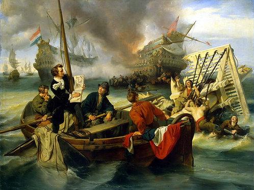 Дехой, Виллем ван де Велде, рисующий мо, 30х40 см.