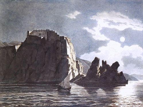 Скалы и луна ночью. 1824. 1849, 30х40 см.
