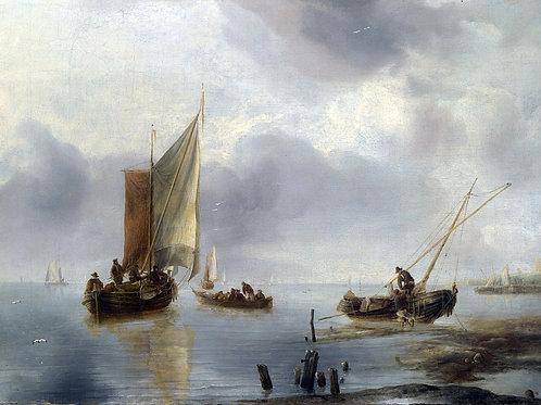 Ян ван де Капелле - Малое судно в легки, 30х40 см.