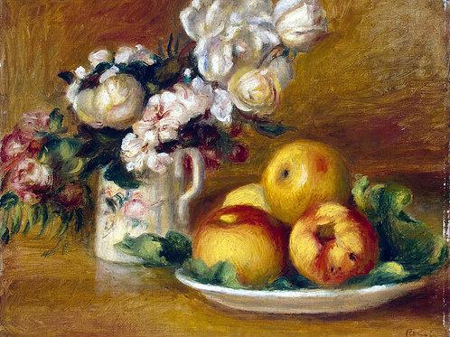 Ренуар, Пьер Огюст - Яблоки и цветы1, 30х40 см.