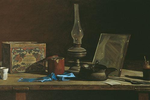 Натюрморт с голубой лентой,  30х40