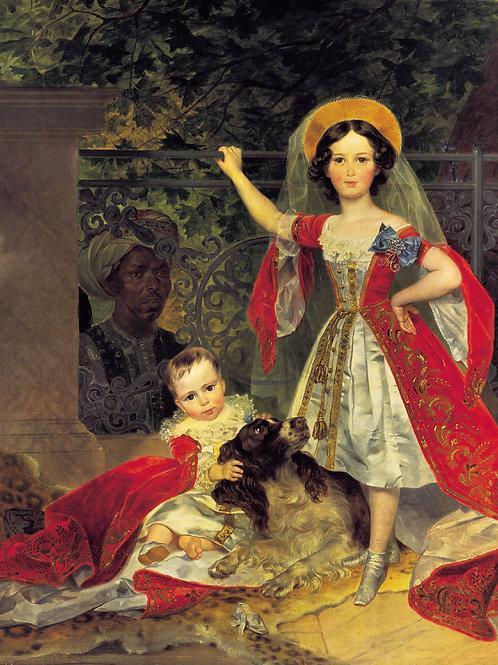 Портрет детей Волконских с арапом. 1843  30х40 см.