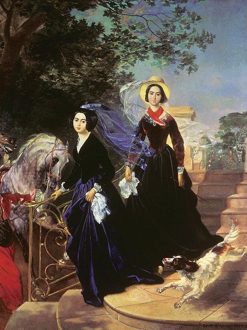 Портрет сестер Шишмаревых. 1839.  30х40 см.