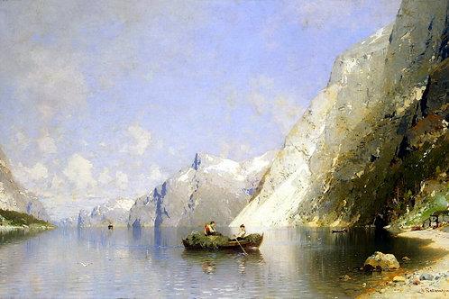 Расмуссен, Георг Антон - Фиорд в Норвег, 30х40 см.