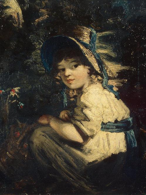 Гарднер, Девочка в соломенной шляпке, 30х40 см.