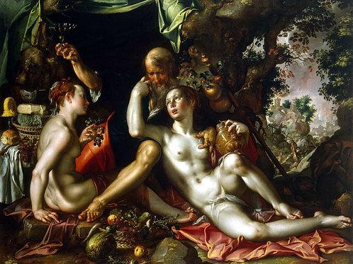 Эйтевал, Иоахим - Лот с дочерьми, 30х40 см.