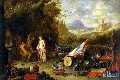 Кессель, Ян ван Старший - Венера в кузн, 30х40 см.
