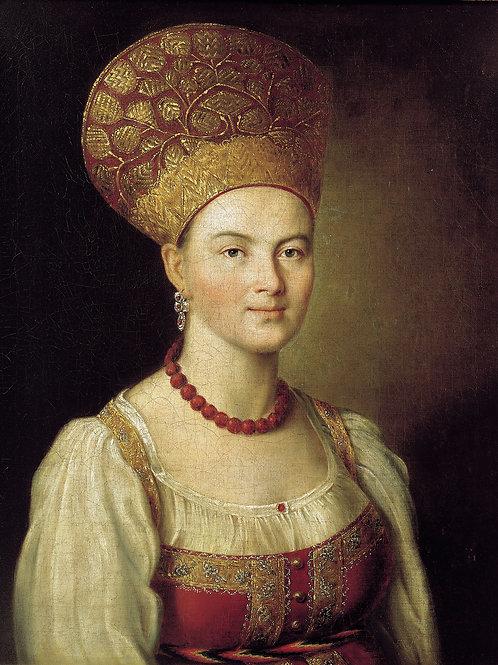 Портрет неизвестной крестьянки в русском 30х40 см.