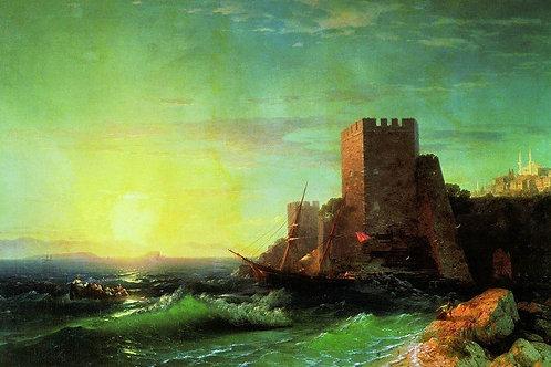 Башни на скале у Босфора. 1859 30х40 см.