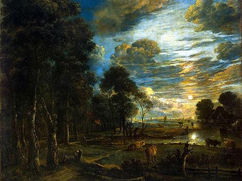 Нер, Арт ван дер - Ночной пейзаж с рекой,30х40 см.
