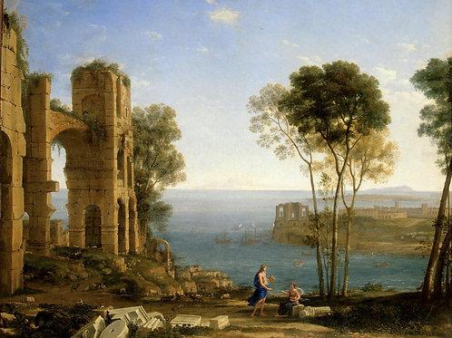 Желле, Пейзаж с Аполлоном и Сивиллой Ку, 30х40 см.