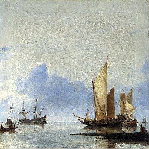 Хендрик Дуббельс - Голландские яхты и, 30х40 см.