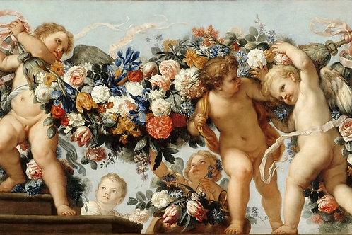 Маратти, - Купидоны с цветочными гирляндам 3040см.