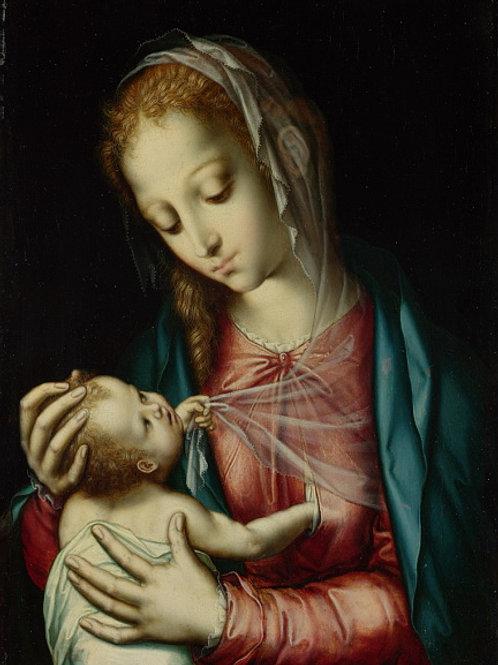 Луис де Моралес - Мадонна с Младенцем, 30х40 см.