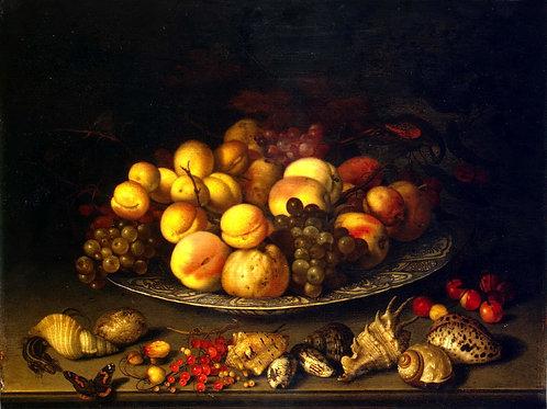 Аст, Тарелка с плодами и раковины, 30х40 см.