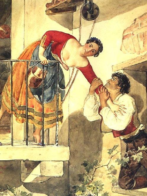 Прерванное свидание. 1820-е, 30х40 см.