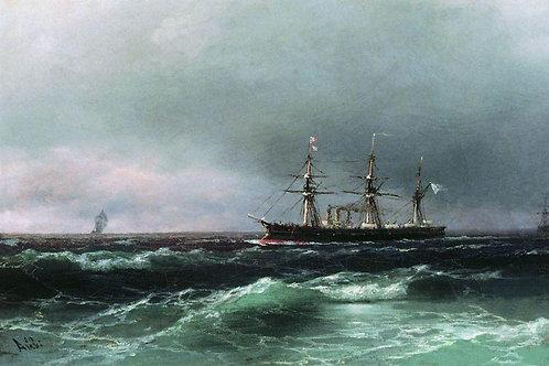Корабль в море. 1870-е, 30х40 см.