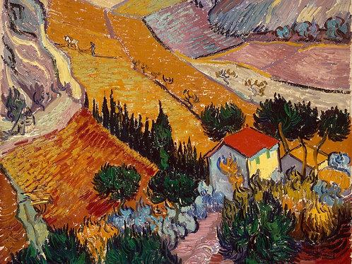 Ван Гог, Пейзаж с домом и пахарем, 30х40 см.