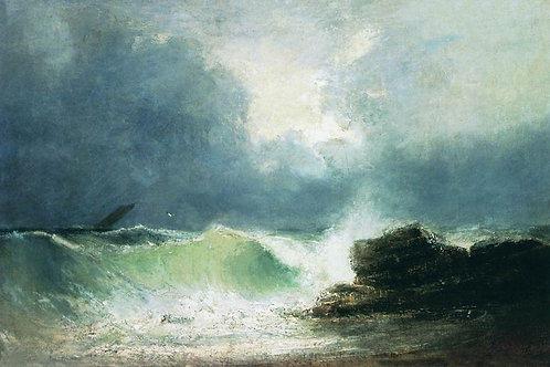 Морской берег. Волна. 1880, 30х40 см.