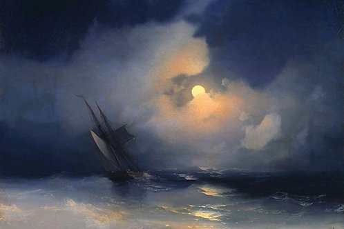Буря на море лунной ночью, 30х40 см.
