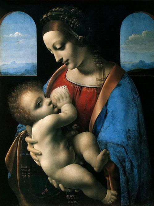Леонардо да Винчи - Мадонна с Младенце,  30х40 см.