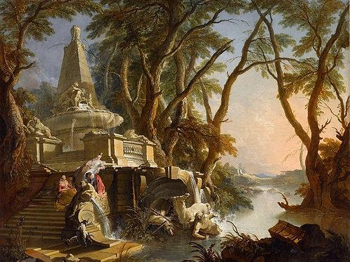 Лажу, Жак де (1687-1761) -- Пейзаж с рек,30х40 см.